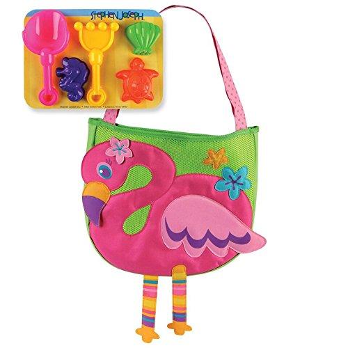 ステファンジョセフ Stephen Joseph 3歳以上対象 女の子用花柄フラミンゴ ビーチバッグ (砂遊びセット5点付き) [並行輸入品]