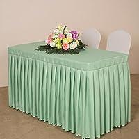 WENJUN ホテル会議テーブルスカートテーブルクロスオフィステーブルクロス展示バーテーブルスカートテーブルカバー結婚式看板テーブルクロス (色 : Green, サイズ さいず : 140 * 40cm)