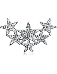大規模な愛国 6 クリスタル星のブローチピンの銀めっき