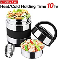 (Color 1) - Vacuum Insulated Lunch Box Keep Food Warm Lunch Containers Stainless Steel Bento Box Thermal Insulating Food Carriers Leakproof Food Savours Heat Holding 8hr with Folding Spoon 3 Tiers