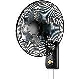 16インチウォールファン、低騒音 - チルト/回転 - 60W電源 - 巾着デザイン - ブラック