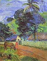 手描き-キャンバスの油絵 - Horse on Road Tahitian 風景画 ポール・ゴーギャン 動物 芸術 作品 洋画 -サイズ15