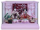 雛人形 ケース飾り ひな人形 ピンク塗パノラマケース桜バック点灯親王飾り ベビーピンク W46.5×D26.8×H33cm 25-3-8