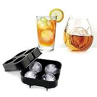 DIYアイスクリームツールシリコンアイスキューブトレイウイスキーカクテルアイスボールメーカー金型4グリッドLargeアイス金型メーカーキッチンツール。 ブラック