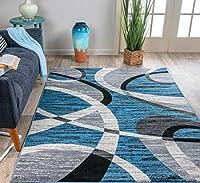 Rugshop Shapes Contemporary Modern Area Rug 5' x 7' Blue [並行輸入品]