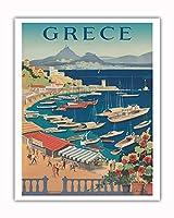 ギリシャ - アテネ - カステラ湾 - ビンテージな世界旅行のポスター c.1955 - アートポスター - 41cm x 51cm