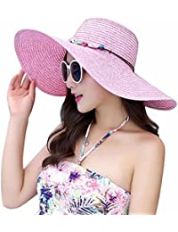 AMIGOYO UVカット帽子 レディース つば広 折りたたみ ハット おしゃれ 麦わら帽子 小顔 紫外線 日よけ帽子 春夏 自転車
