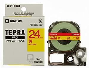 キングジム テープカートリッジ テプラPRO 24mm SC24YR 黄 赤文字