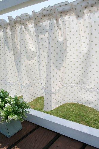 SunnyDayFabric カフェカーテン オーガニックコットン水玉カフェ オリーブ 約145cm幅×45cm丈