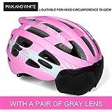 サイクリング自転車用ヘルメット ゴーグルサイクリングヘルメットロード自転車ヘルメットプロフェッショナルマウンテンレーシングバイクインモールド安全キャップ男性女性ciclismo スポーツ用保護ヘルメット (色 : L pink 1 lens)