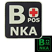 夜の暗闇で光る BPOS B+ NKA ブラッドタイプ No Known Allergies タクティカル モラール PVC ラバー ベルクロ面ファスナー パッチ Patch