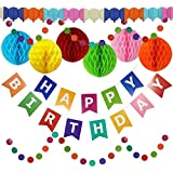 Happy Birthday Banner Party Decorations - Large Happy Birthday Banner, Extra Large Honeycomb Balls & Extra Long 3D Balloon Garland - Long Circle Garland Strings - Party Supplies For Kids & Adults