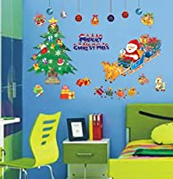 WDA Merryクリスマス壁デカールサンタクロースXmasツリー壁ステッカーPVC Romovableホームクリスマス装飾 Christmas 1 AY