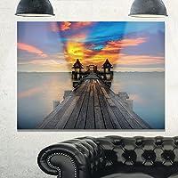 """デザインアートmt10595–20–12Wide木製ブリッジinto Distant Sun Sea Pierメタル壁アート 40x30"""" MT10595-40-30"""