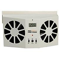 1stモール 【 効率UP 】 車載 ECO ダブルソーラーファン (温度計付き) 充電式 最大5時間稼働 ST-DOSOFAN