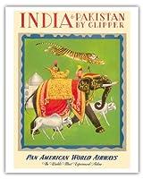 クリッパーによってインドとパキスタン - パンアメリカン航空PAN AM - ビンテージな航空会社のポスター によって作成された チャールズ・バスカヴィル c.1949 - アートポスター - 41cm x 51cm