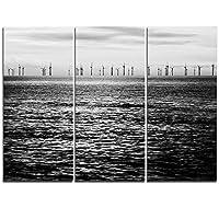 """DesignArt風力タービンブラックandホワイトLandscapeキャンバスアートワーク 36x28"""" - 3 Panels ブラック PT11642-3P"""