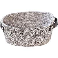 古典的な綿糸 手織り収納バスケット小物入れ ソックス タオル デスク収納かわいい ?ストレージ?ボックス船型手作り