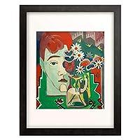 エルンスト・ルートヴィヒ・キルヒナー Ernst Ludwig Kirchner 「Muller's head with flowers」 額装アート作品