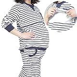 baby-mine (ベイビーマイン) マタニティ パジャマ ナイトウエア 授乳服 家着 普段着 授乳口 ウエスト調節 大き目 ママパジャマ ボーダー ストライプ (M, ホワイト×ボーダー)