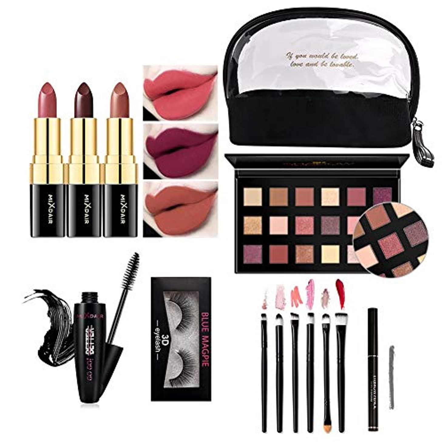 フォルダ竜巻表面的なSILUN 化粧セット口紅+アイシャドー+マスカラー+化粧ブラシ+3Dつけまつげ+眉毛鉛筆 フル美容メイクアップセット 初心者 人気化粧品セット