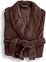 Bambury Microplush Bathrobe Bathrobe, Medium/Large, Bitter Chocolate