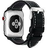 全7色 Apple Watch ベルト バンド Fullmosa Apple Watch Series 0 1 2 3 バンド 本革レザー ベルト交換用ラグ付き アップルウォッチ ブラック 38mm