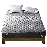 洗える ベッドパッド 快適敷きパッド 綿100% 丸洗いOK 抗菌・防臭・防ダニ加工 パッド 裏地がズレ防止素材使用 オールシーズンで使える ベッドシーツ ベッドマット ホテル仕様 (グレー, セミダブル・120X200cm)