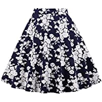 Cleaivy Women's Midi Pleated A Line Floral Printed Vintage Skirts