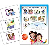 Daily Routines Flashcards in German Language - Flash Cards with Matching Bingo Game for Toddlers, Kids, Children and Adults - Size 4.13 × 5.83 in - DIN A6