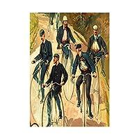 Uniformed Men Riding Penny Farthing Bicycle Country Lane Wall Art Print 自転車壁