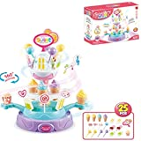 wodtoizi Rotating Food Plate Candy Ice Cream Cupcake Toy Playset Pretend Play Food Desserts Colorful Lights Wonderful Music Birthday Christmas Gift for Boys Girls Kids 25 Pieces