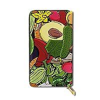 野菜の復古図 長財布 財布 本革 小銭入れ カードケース コインケース 12枚のカード収納 メンズ レディース 多機能 大容量 全幅プリント