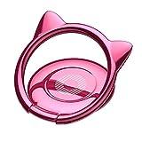 スマホリング 猫耳 薄型 バンカーリング 360度回転 ホールドリング  iPhone Android多機種対応(ピンク)