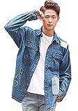 (キャバリア)CavariA メンズ リペア加工 星条旗柄 ビッグシルエット 長袖 デニム シャツ (トップス) FREE(フリーサイズ) 2(BLU/ブルー)