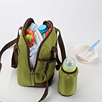 Stylish Diaper Shoulder Bag for Moms, Attached Insulated Bottle Sack by Kinnet