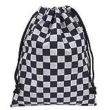 手作り 和柄 巾着袋 市松模様 濃紺×グレー 和小物 和雑貨 和風小物