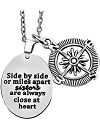 lauhonmin Side by Side or Miles Apart Sister Always Close at Heart - Compass Pendant Necklace Women Girl Family Gift