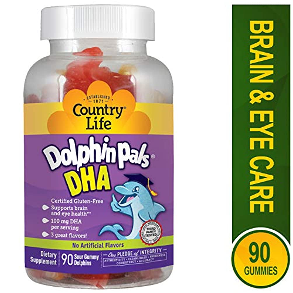 六月文献同意海外直送品Country Life Dolphin Pals DHA Gummies For Kids, 90 ct