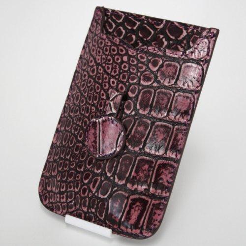 【各種スマホ対応 iPhone5sも】本クロコダイル皮革オリジナルスマートフォンケース (ヴィンテージピンク)
