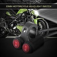 Keenso 22mm オートバイ ハンドルバー スイッチ オン/オフスイッチ 汎用 多機能 バイク ハンドルバー フォグライト ヘッドライト(レッド)
