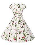 ドレッシースター 1956スイングワンピース レトロ ドレス 50年代 ロカビリー ベルト付き レディーズ チェリー スリー Mサイズ