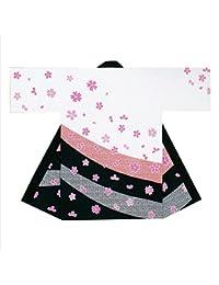 【よさこい衣装?袢纏?法被】長袢天 白/黒 桜 B9012