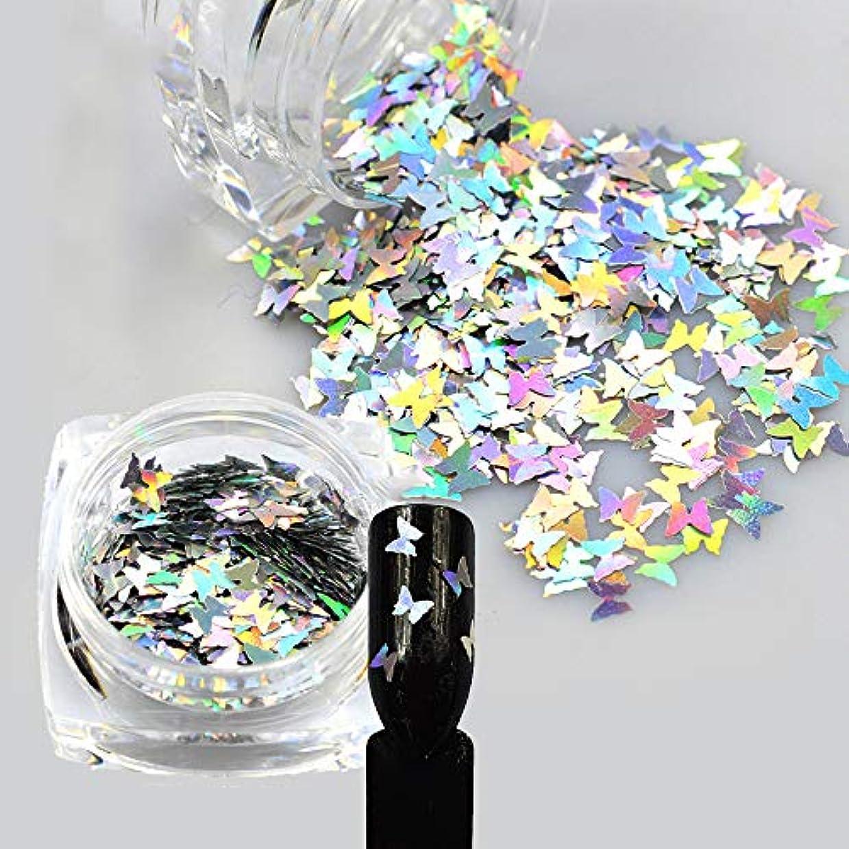 完璧愚か憤る1ピースレーザー光沢のあるダイヤモンドラウンド超薄型スパンコールネイルアートキラキラのヒントUVジェル3DバタフライスパンコールレーザーマジックシルバーバタフライスパンコールネイルデコレーションマニキュアDIYアクセサリー