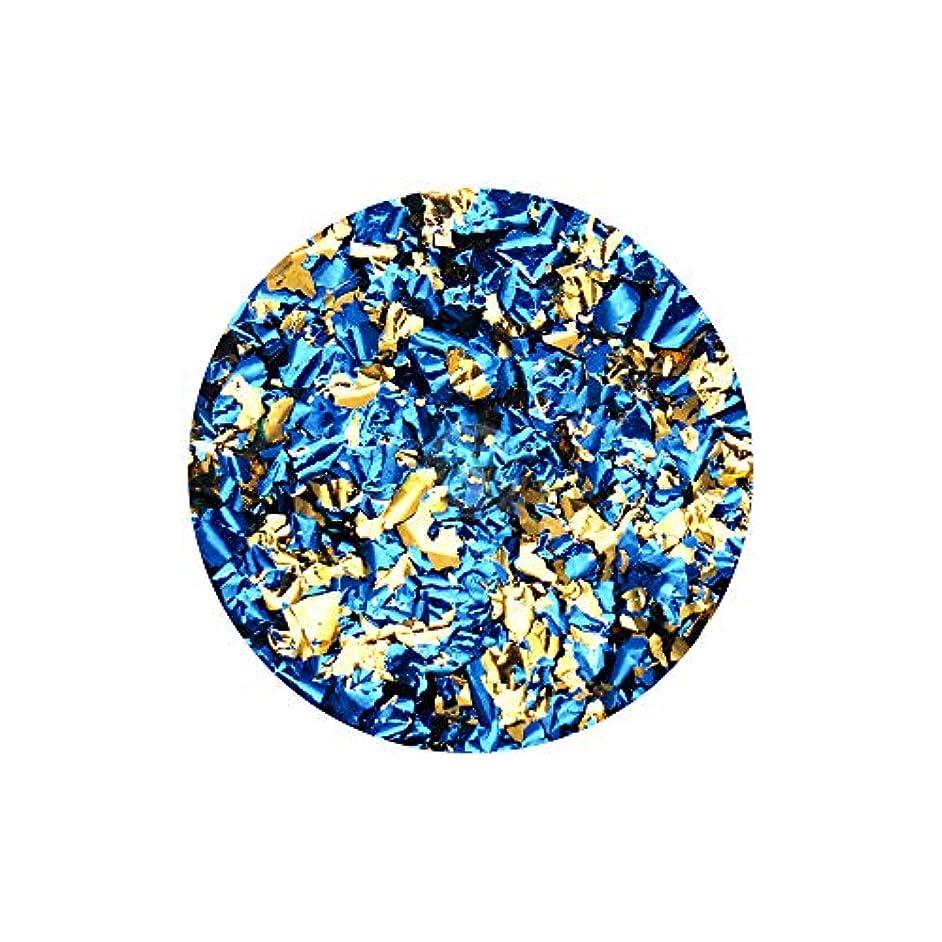 代表団軽くテクニカルネイルアート リバーシブルホイル ブルー×ゴールド セルフネイル レジン ネイルホイル リバーシブル 両面 ネイルナゲット