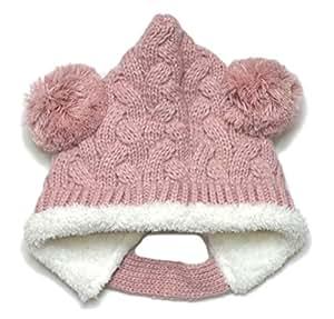 【ノーブランド品】前ボタン付きもこもこエルフニット帽(ボンボン)頭回り44-50cm 2重 モンキー帽子 とんがり帽 ライトピンク
