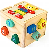 Shape Sorterアクティビティキューブ| Early Learningおもちゃfor Toddlers |環境に優しいと非毒性木製ソートボックス&キューブパズルキッズ|教育形状の一致するゲームby boxiki Kids