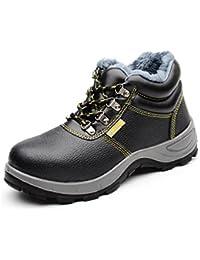 [ブルーポメロ]安全靴 作業靴 ハイカット メンズ 防水 耐油 通気 鋼先芯入(JIS H級相当) 黒 防寒 通気 滑り止め 裏起毛タイプ選択可
