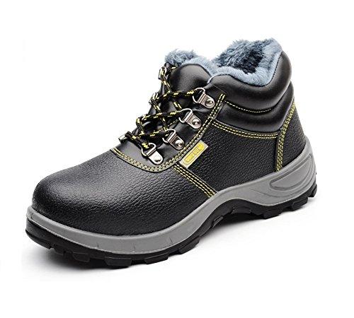 [ブルーポメロ]作業靴 安全靴 スニーカー メンズ 防水 防寒 鋼先芯(JIS H級相当) ウール中身 黒 軽量 ショート