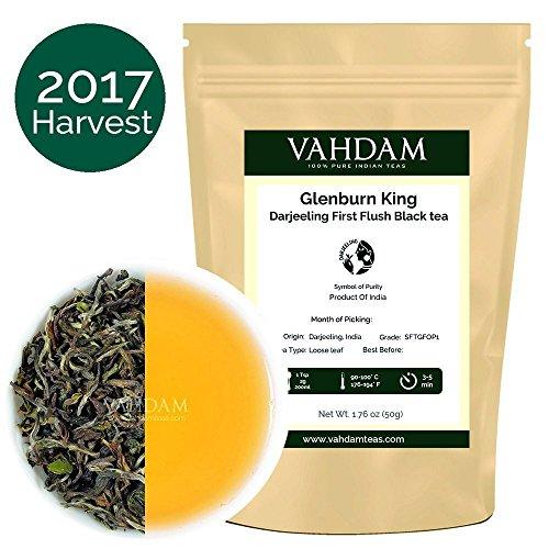 2017 Glenburn【グレーンバーン】キングダージリンファーストフラッシュ紅茶(25杯)、100%純粋な無配合ダージリンティ、インド供給源で栽培 & 包装、最高のインドティ 、50g